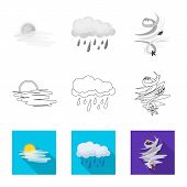 Isolated Object Of Weather And Weather Icon. Collection Of Weather And Application Stock Symbol For  poster