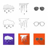 Isolated Object Of Weather And Weather Sign. Collection Of Weather And Application Stock Vector Illu poster