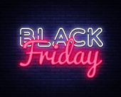 Black Friday Sale Neon Text Vector Design Template. Black Friday Sale Neon Logo, Light Banner Design poster