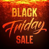 Vector Black Friday Sale Background With Shining Sparks Falling Down. Vector Illustration On Dark Re poster