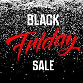 Vector Black Friday Sale Background With Shining Snowflakes Falling Down. Vector Illustration On Dar poster