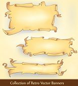 stock photo of fable  - a set of ripped ancient fable banners drawn in cartoon style - JPG