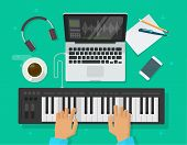 Musician Workspace Studio Vector Illustration, Flat Cartoon Person Playing Midi Piano Keyboard, Comp poster