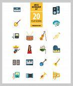 Music Instrument Icon Set. Drum And Drumsticks Balalaika Banjo Instrument Classic Accordion Violin A poster