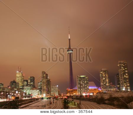 poster of Toronto City Lights At Night In Glowing Glory