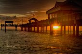 pic of gulf mexico  - Sunset at Pier 60 in Clearwater Beach, Florida.