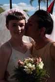 Brisbane, Qld Australia - August 11 : Unidentified Woman Posing As Married Lesbian Couple On August