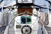stock photo of safe haven  - close up detail of sailing yacht in port - JPG