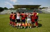 KAPOSVAR, HUNGARY - JULY 21: Macedon players celebrate at the VIII. Youth Football Festival U16 Fina