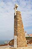The obelisk with a large white cross. Cabo da Roca - the extreme western point of Europe