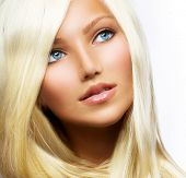 stock photo of hair streaks  - Beautiful Blond Girl isolated on a White Background - JPG