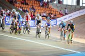 MOSCOW - AUGUST 19: Female cyclists at UCI juniors track world championships on August 19, 2011 in M