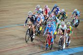 MOSCOW - AUGUST 19: Female cyclists ride on track at UCI juniors track world championships on August