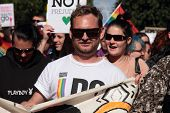 Brisbane, Qld Australia - August 11 : Gay Marriage Rights Crowd Marching City Centre  On August 11 2