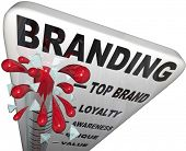 The word Branding on a thermometer measuring your brand loyalty, identity, reputation, credibility,