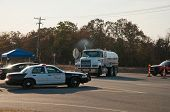 CREEK COUNTY, OKLAHOMA - AUGUST 6 2012: Oklahoma highway patrol directing traffic after wildfires bu