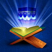 image of quran sharif  - Beautiful illustration Qaaba Sharif or Qaba with holy book Quran and moon on modern abstract blue background - JPG