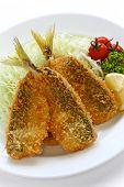 deep fried horse mackerel(aji furai), japanese cuisine