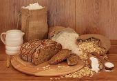 Soda bread ingredients on oak background. Selective focus.