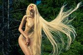 pic of coniferous forest  - Portrait of nude elegant woman with luxurious hair in a coniferous forest - JPG