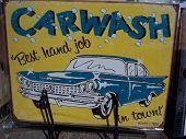 Classic Old 1959  Car Wash  Sign. Hand Job.