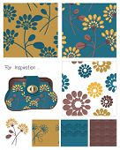 Flower Seamless Vector Patterns and Icon.  Use to create fabric bags or digital paper.