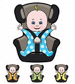 Vector cartoon of baby in car seat