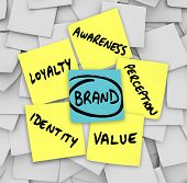 The principicles of brand and branding written on sticky notes - value, identity, loyalty, awareness and perception