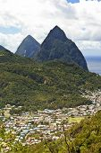 soufriere and the pitons on the island of st lucia