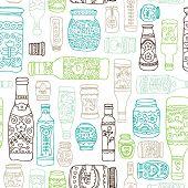 Seamless vintage italian kitchen bottles background pattern in vector