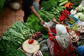 Asian traditional vegetable market