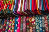 Various of colorful fabrics at a market stall in Kathmandu, Nepal