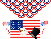 picture of betsy ross  - Let the USA Holiday celebrations begin a new beginning with the USA flag bald eagle and balloons - JPG