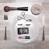 Makeup accessories as a dish