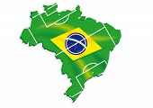 pic of gaucho  - brazil map flag soccer field on a white background - JPG