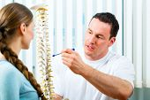Physiotherapist in his practice, he explains a female patient the vertebral column and the emergence