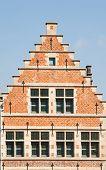 Facade of a house along the Graslei in Ghent, Belgium