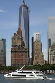 NEW YORK - MAY 17: The Zephyr Yacht Harbor Cruise moves past the Freedom Tower on May 17, 2013 in New York.