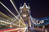 stock photo of london night  - The view on Tower Bridge at night London - JPG