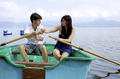 Husband And Wife Fighting On Boat In Vacation On Italian Lake