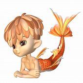 Cute Toon Goldfish Merman