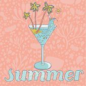 Summer concept card. Vector cocktail with sand, palm and sea on floral background