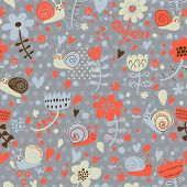 Bright floral seamless pattern with funny snails. Seamless pattern can be used for wallpapers, patte