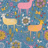 Bright deers in cartoon flowers for childish backgrounds. Seamless pattern can be used for wallpaper