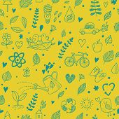Ecology concept seamless pattern. Seamless pattern can be used for wallpapers, pattern fills, web pa