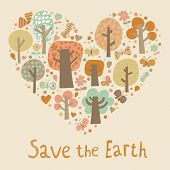 Save the Earth. Concept vector card �¢�?�? Heart made of trees, flowers and butterflies. Cartoon