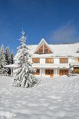 Winter mountain cabin