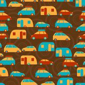 Retro seamless travel pattern of cars.