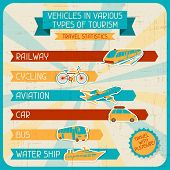 Vehicles in various types of tourism.
