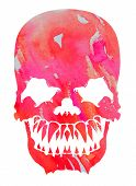 Aggressive Pink Watercolor Skull